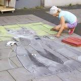 Straat het schilderen, Geldern, 2012, Duitsland Stock Afbeelding