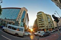 Straat in het schot van Boekarest Fisheye Stock Foto's