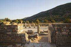 Straat Hogere Stad, mening van Odeon. Ephesus. Stock Fotografie