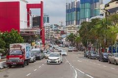 Straat in Johor Bahru Maleisië stock foto's