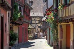 Straat in Kaysersberg Stock Afbeelding