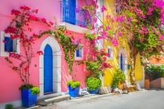 Straat in Kefalonia, Griekenland stock fotografie