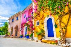 Straat in Kefalonia, Griekenland royalty-vrije stock foto