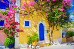 Straat in Kefalonia, Griekenland royalty-vrije stock foto's