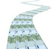 Straat met 100 euro bankbiljetten Stock Afbeeldingen