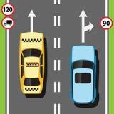 Straat met auto's op de weg stock illustratie
