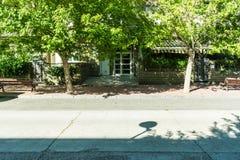 Straat met bomen en huizen in de zomer stock afbeelding