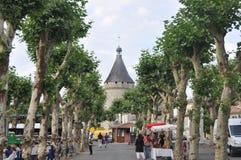 Straat met bomen in Franse Stad wordt gevoerd die Stock Afbeelding