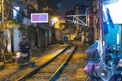 Straat met de spoorweg Stock Afbeelding