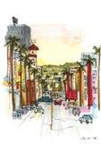 Straat met geschilderde palmen en hoge gebouwen vector illustratie