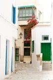 Straat met houten deuren en struik met bloemen in Mahdia Stock Afbeeldingen
