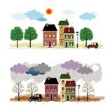 Straat met huizen Royalty-vrije Stock Afbeeldingen