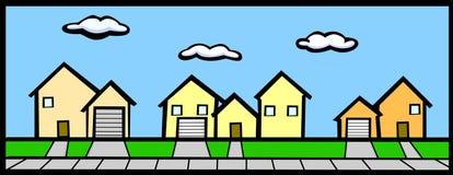 Straat met huizen Stock Afbeeldingen