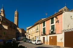 Straat met kerk in Borja Aragon Stock Foto