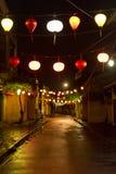 Straat met lantaarns Royalty-vrije Stock Afbeeldingen