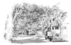 Straat met overspannen boomtakken die wordt behandeld royalty-vrije illustratie