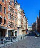 Straat met Uitstekende Huizen, Brussel Royalty-vrije Stock Foto's