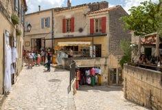 Straat in middeleeuws dorp van Les Baux DE de Provence stock afbeelding