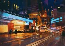 Straat in moderne stedelijke stad bij nacht Stock Afbeeldingen