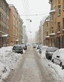 Straat na een sneeuwval Stock Foto's