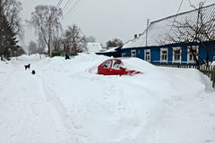 Straat na sneeuwonweer Royalty-vrije Stock Foto