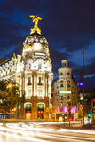 Straat in nacht Madrid, Spanje Royalty-vrije Stock Foto