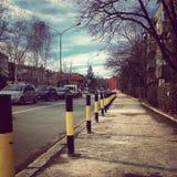 Straat in ochtend vroeg stock foto