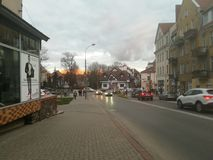 Straat in Olsztyn, Polen stock afbeelding