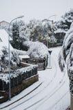 Straat onder sneeuw in Rome Stock Foto's