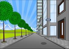 Straat op de rand van de stad Stock Afbeelding