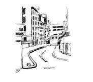 Straat op Stad, illustratie Stock Afbeeldingen