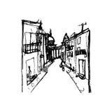 Straat op Stad, illustratie Royalty-vrije Stock Afbeelding