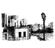 Straat op Stad, vectorillustratie Royalty-vrije Stock Foto's