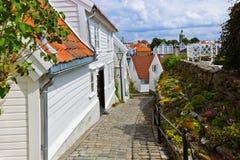 Straat in oud centrum van Stavanger - Noorwegen Royalty-vrije Stock Afbeelding