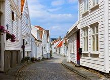 Straat in oud centrum van Stavanger - Noorwegen Royalty-vrije Stock Afbeeldingen