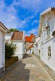 Straat in oud centrum van Stavanger - Noorwegen Stock Fotografie
