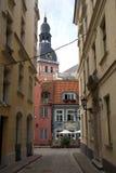 Straat in oud Riga Stock Foto
