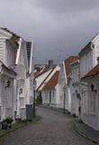 Straat in oud Stavanger Stock Afbeeldingen