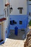 Straat in oude Chefchaouen royalty-vrije stock afbeeldingen