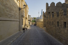 Straat in oude oude stad Baku Royalty-vrije Stock Afbeelding