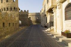 Straat in oude oude stad Baku Stock Afbeeldingen