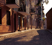 Straat in oude stad Stock Afbeeldingen