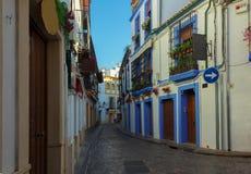 Straat in oude stad, Cordoba, Spanje Royalty-vrije Stock Foto's