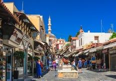 Straat in oude stad Het eiland van Rhodos Griekenland Stock Afbeeldingen