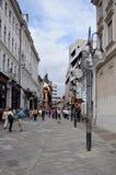Straat in oude stad in Ljubljana, Slovenië Stock Afbeeldingen