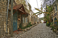 Straat in oude stad Rosh Pina Stock Foto