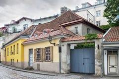 Straat in oude stad, Tallinn, Estland Stock Fotografie