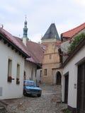 Straat in oude stad van TÃ ¡ bor Stock Fotografie