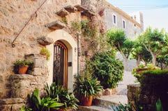 Straat oude traditionele huizen in Waldemossa Stock Fotografie