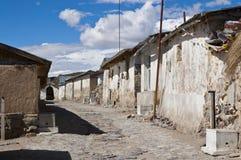 Straat in Parinacota. Stock Foto's